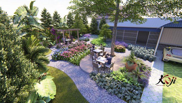 mẫu sân vườn được thiết kế kết hợp sỏi, đá và các vật liệu khác