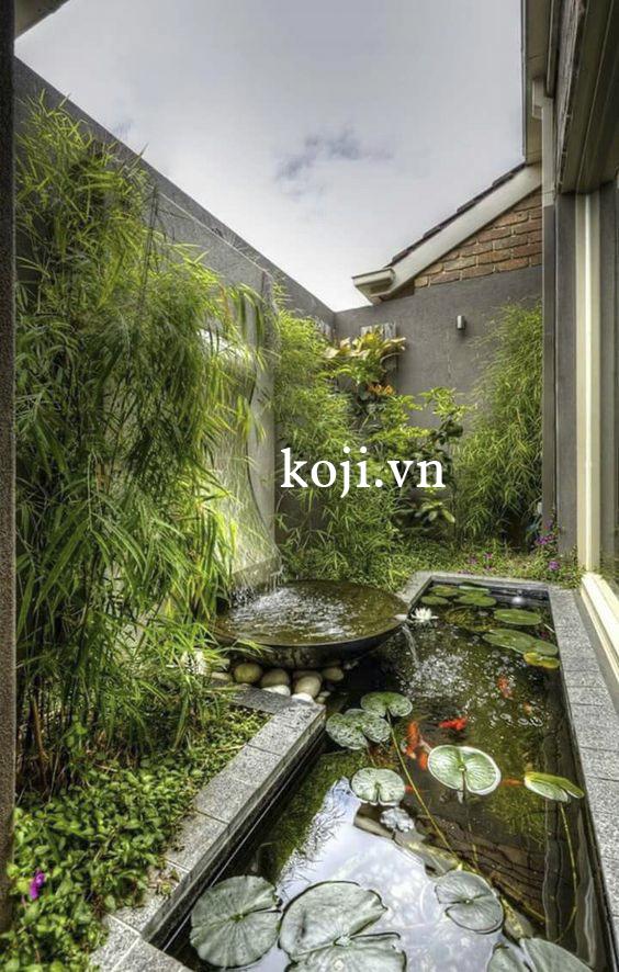 Phong cách sân vườn Nhật Bản với hồ nước điểm xuyến cây hoa