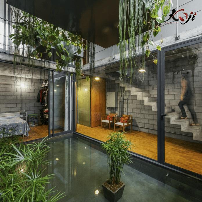 mẫu 4: kết hợp bể nước trong nhà giúp không gian mát mẻ hơn