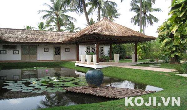 Sân vườn kết hợp hồ trồng hoa sen, hoa súng loài hoa đặc trưng của Việt Nam