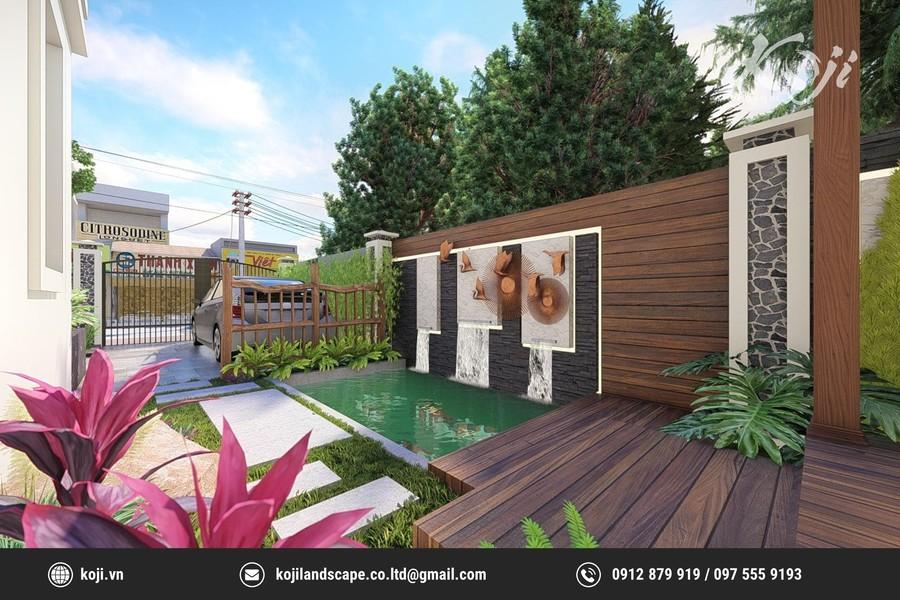 thiết kế 3d sân vườn Geleximco