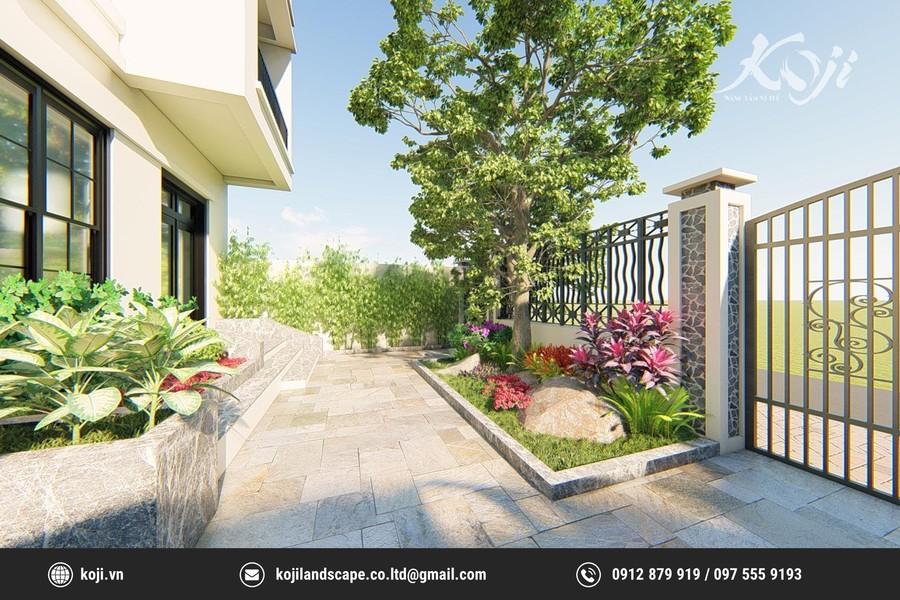 thiết kế sân vườn Biệt thự liền kề KĐT Geleximco