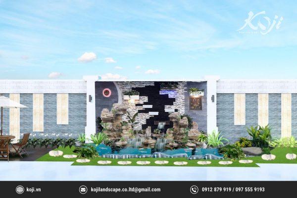 Thiết kế 3D sân vườn beietj thự hiện đại
