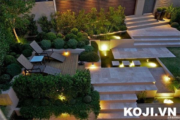 Sân vườn kết hợp ánh sáng