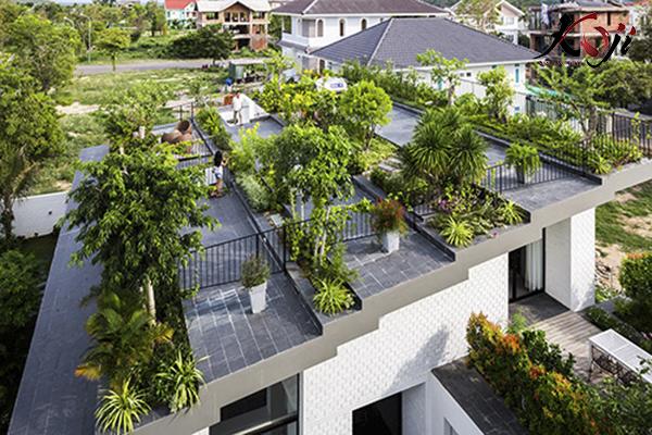 thiết kế sân vườn trên sân thượng