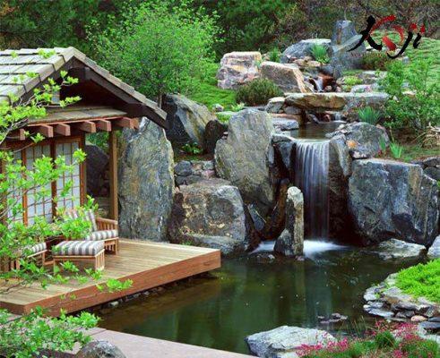 Sân vườn Nhật kết hợp tiểu cảnh thác nước