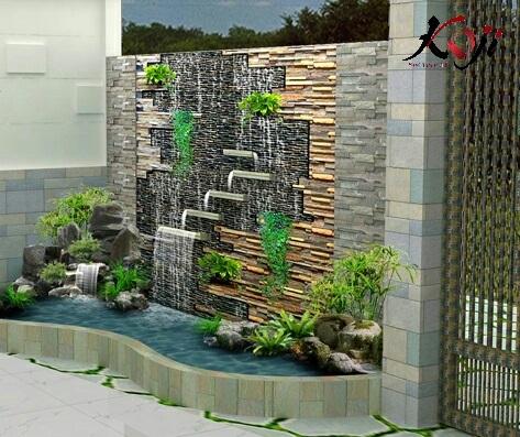 Thiết kế 3D tranh tường đá kế hợp thác nước