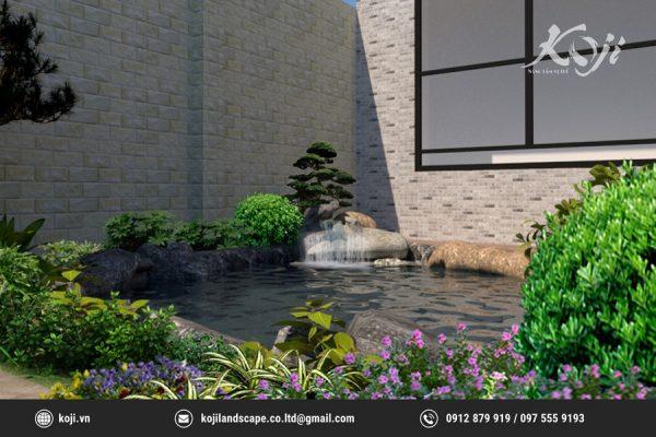Hình ảnh thiết kế 3D hồ cá koi