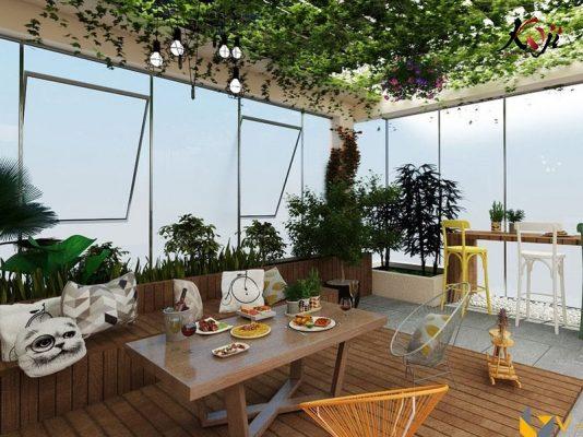 Thiết kế 3D làm sân vườn tầng thượng tiết kiệm