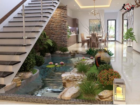 Thiết kế 3D hồ cá koi kết hợp hòn non bộ ở dưới chân cầu thang