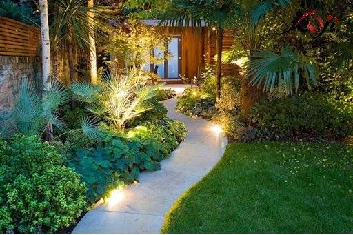 Lối vào nhà trang trí nhiều cây xanh và thảm cỏ