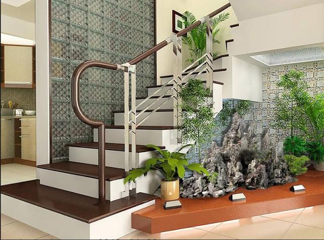 Tiểu cảnh trang trí dưới chân cầu thang