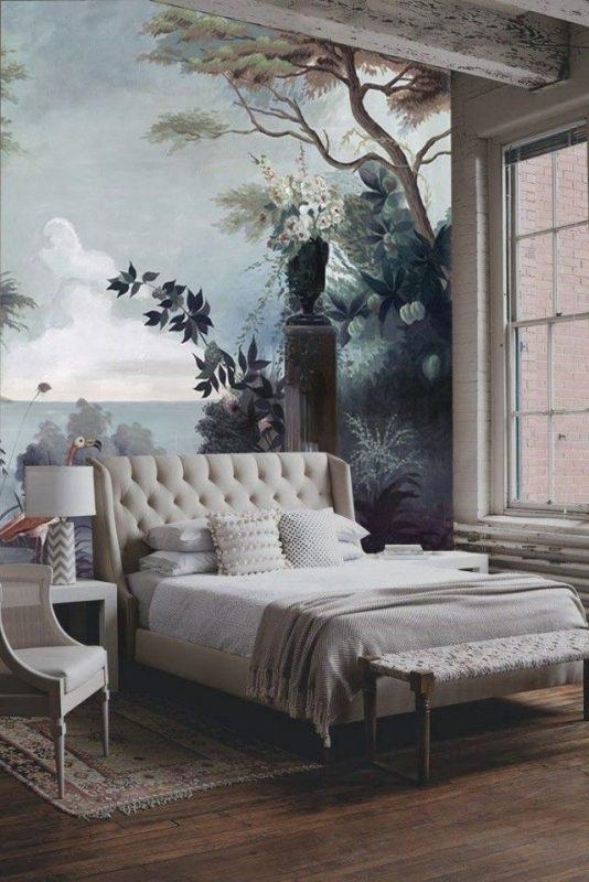 Mẫu tranh phong cảnh ngay trong phòng ngủ hiện đại