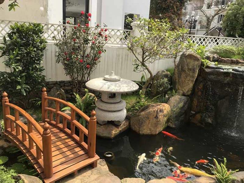 Trang trí sân vườn hồ cá koi theo phong cách Nhật Bản