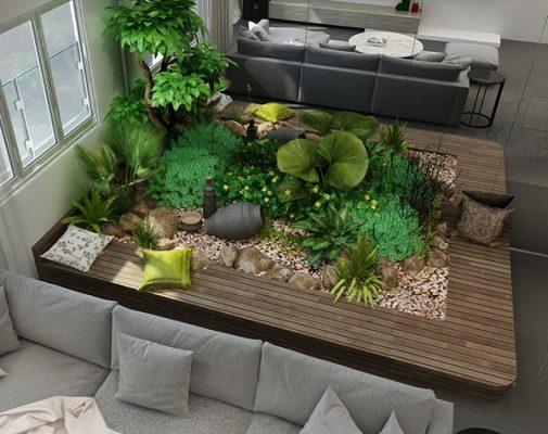 Mẫu thiết kế tiểu cảnh sân vườn đầy thơ mông ngay trong nhà