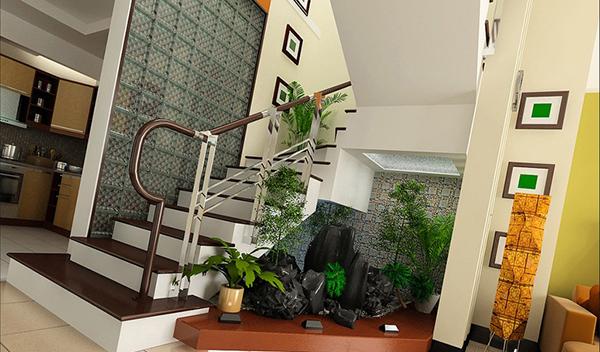 Mẫu thiết kế tiểu cảnh dưới chân cầu thang