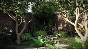 Sân vườn nhiều cây xanh bao phủ
