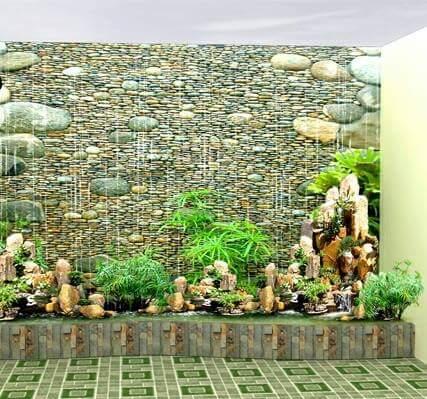 Tường nước kết hợp hòn non bộ