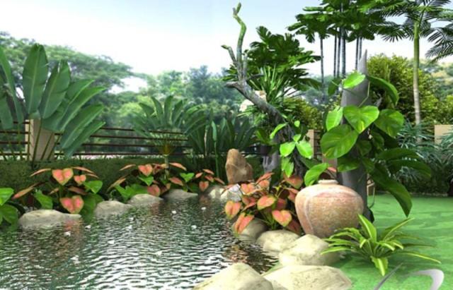 Thiết kế không gian xanh kết hợp với hồ nước mini tạo nên không khí trong lành