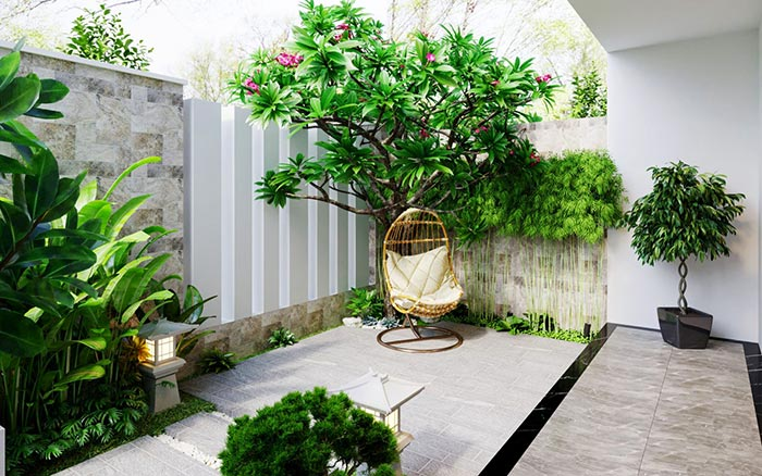 Mẫu sân vườn sau nhà đậm chất phương ĐôngSân vườn phong cách làng quê Việt phía sau nhà