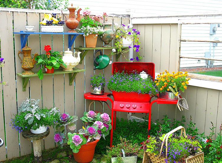 những chậu hoa nhỏ tạo thêm điểm nhấn cho sân vườn