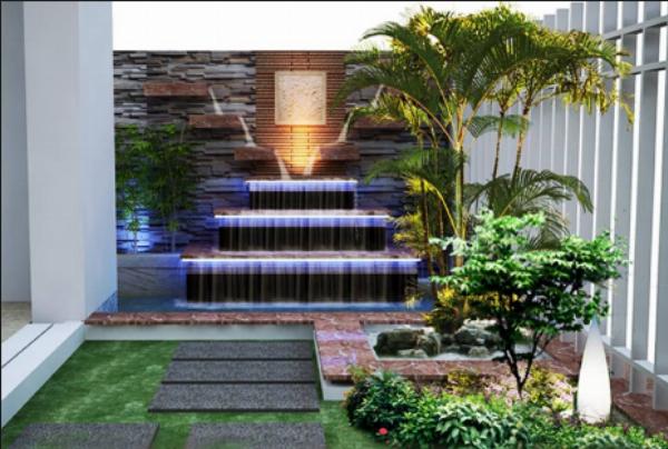 Thiết kế tường nước trong chính phòng khách